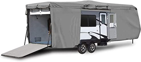 Waterproof Superior RV Motorhome Travel Trailer/Toy Hauler Cover Fits Length 18'-20' Travel Trailer Camper Zippered Panels Allow Access To The Door, Engine, Side Storage Areas, and Ramp Door