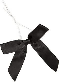 Juvale Black Satin Ribbon Twist Tie Bows (100 Count), 3 Inches