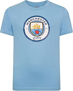 Manchester City Football Club Official Soccer Gift Kids Crest T-Shirt