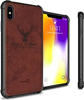 CoverON Woven Fabric Cloth Woven Series for iPhone Xs Max, Brown