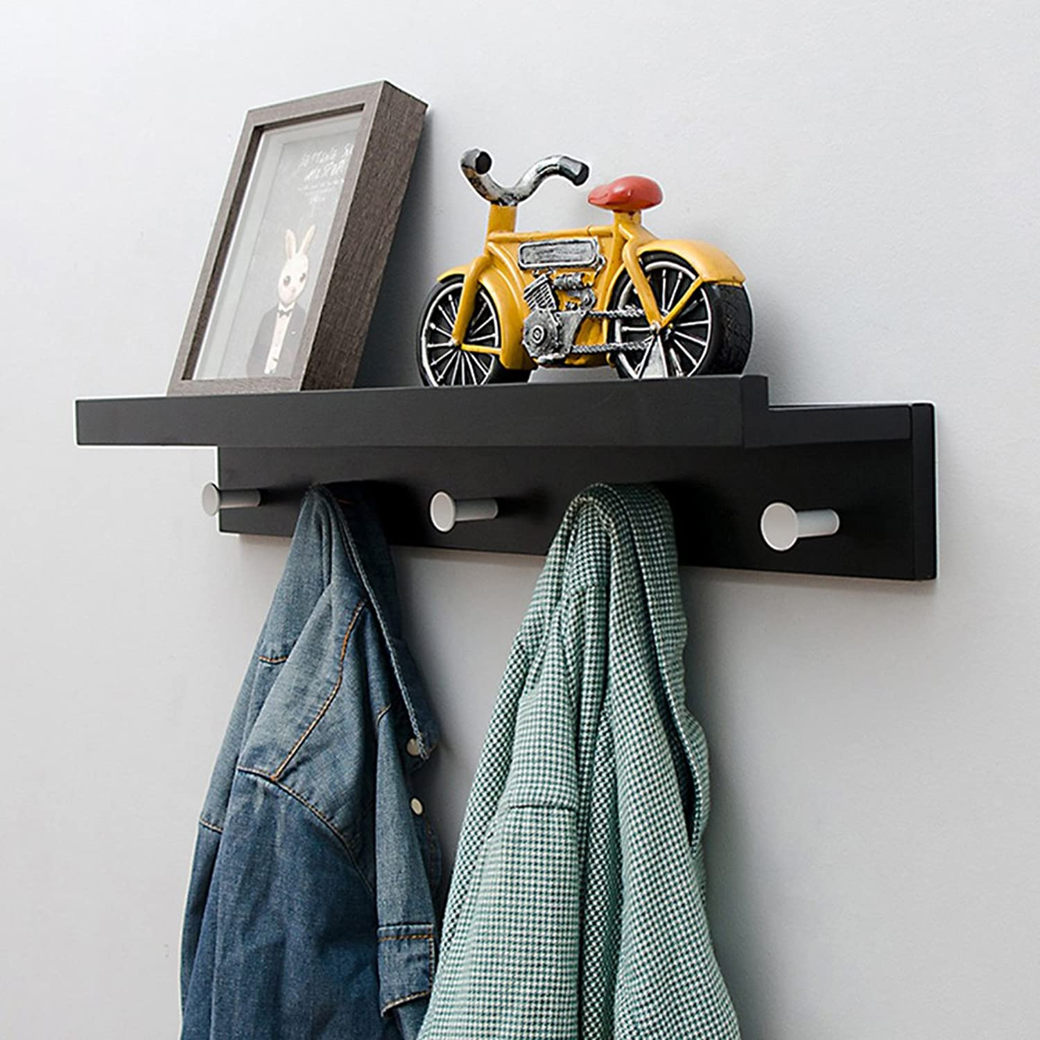 Coat Rack Wall-Mounted Shelf Bamboo Wooden Hook Rack with 5 Alloy Hooks and Upper Shelf for Storage for Entryway Hallway Bathroom Living Room Bedroom Kitchen,Black