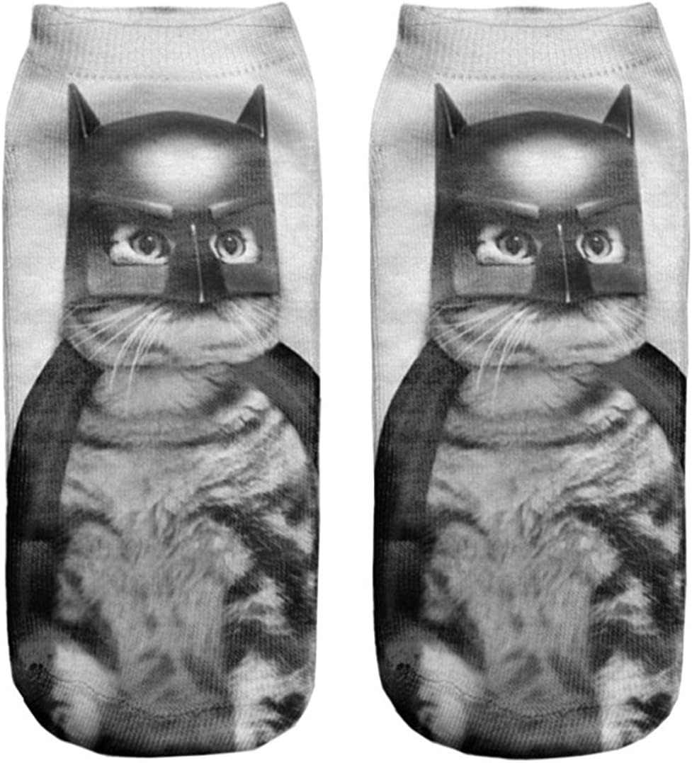Doxi Pretty Cute Women Girls 3D Printed Cotton Elastic Socks New Hot Batcat Free Size
