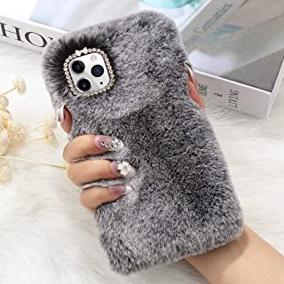 for iPhone 11 Pro Case Cute Girly Faux Fur Case with Chic Bling Crystal Diamond Bowknot Flexible Silicon Soft Fluffy Furry Shockproof Protective Phone Case for iPhone 11 Pro Grey