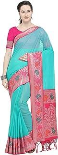 VARKALA SILK SAREES Women's Banarasi Cotton Blend Saree With Un-stitched Blouse