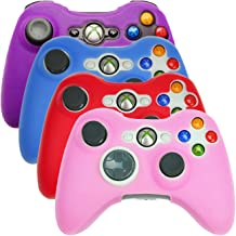 HDE Controller Skins for Xbox 360 Controller 4 Pack Combo Silicone Rubber Protective Grip Case Cover for Microsoft Xbox 360 Wireless Gamepads (Purple, Aqua Blue, Red, Pink)