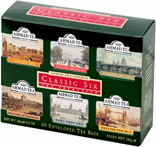 Ahmad Tea Classic Six Selection Envelope Teabag Gift Pack Black Tea, Sampler, 60 Count