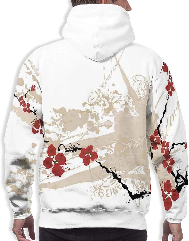 Men's Hoodies Sweatshirts,Illustration of Sakura Branches Windy April Weather in Japanese Painting Style Art