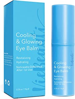 VieBeauti Cooling & Glowing Eye Balm – Hydrating Eye Cream Reduces Puffiness, Discoloration and Wrinkles with Nutrient-Rich Botanicals and Vitamin E – Visible Results in 1 Use (0.35 oz) Blue