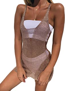 245ed2f4b Womens V Neck Sleeveless Crochet Hollow Out Swimsuit Cover ups Shirt  Fishnet Mesh Beach Mini Tank