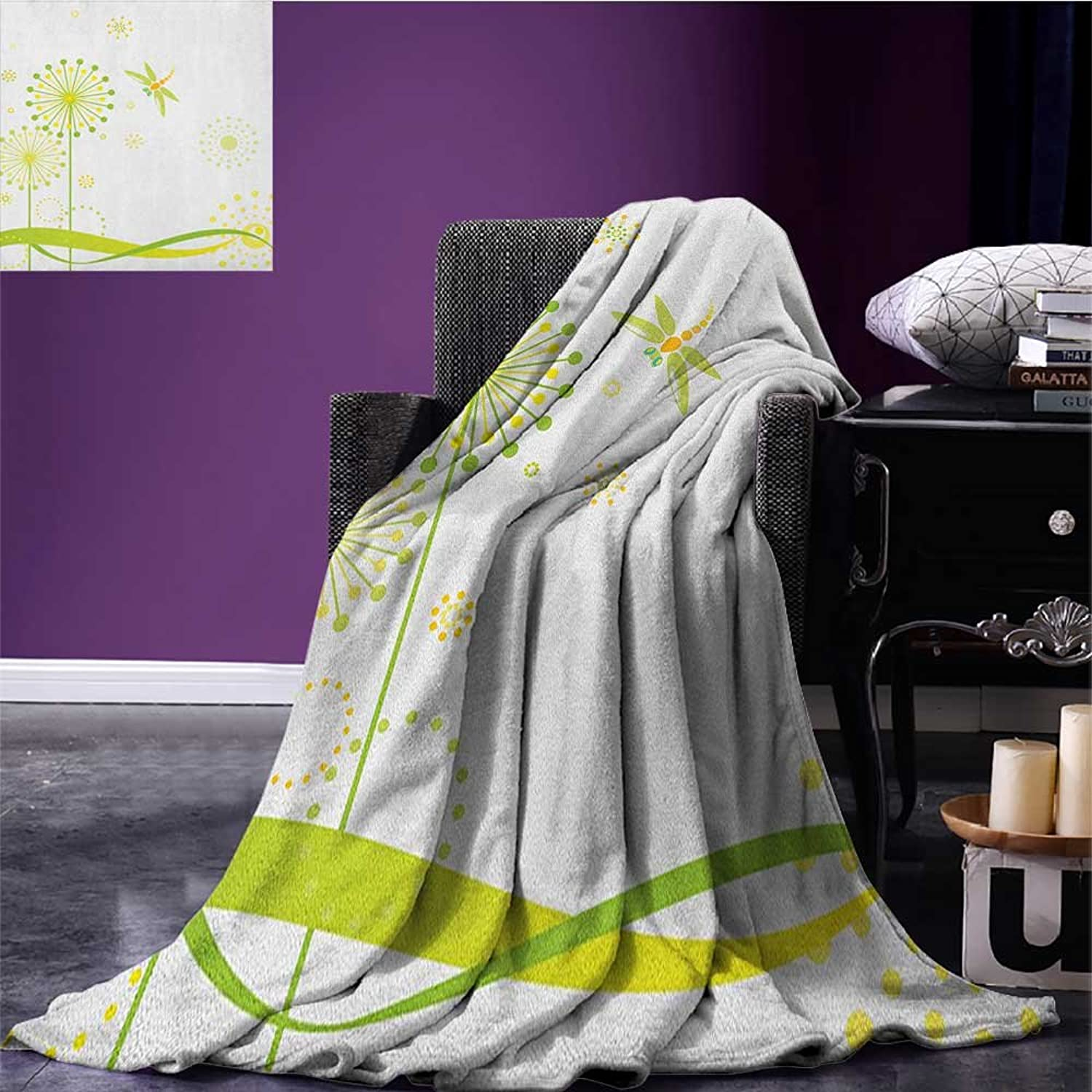 Dragonfly Picnic Blanket Spring Theme with Dandelion Flowers Happiness Hope Artful Summer Design Soft Throw Blanket Lime and Apple Green Size 59 x35.5