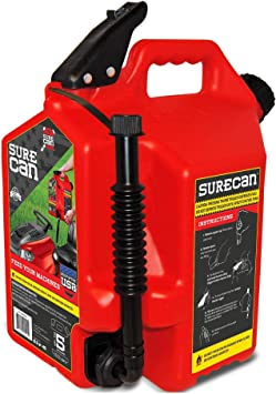 Surecan Child Proof Easy Pour Rotating Nozzle 5 Gallon Flow Control Plastic Gas Container Can, Red: image
