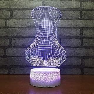 Décoration de la Maison Moderne Lampe de Table 3D 7 Changement de Couleur LED Nez Abstrait noël veilleuse Chevet dégradé c...