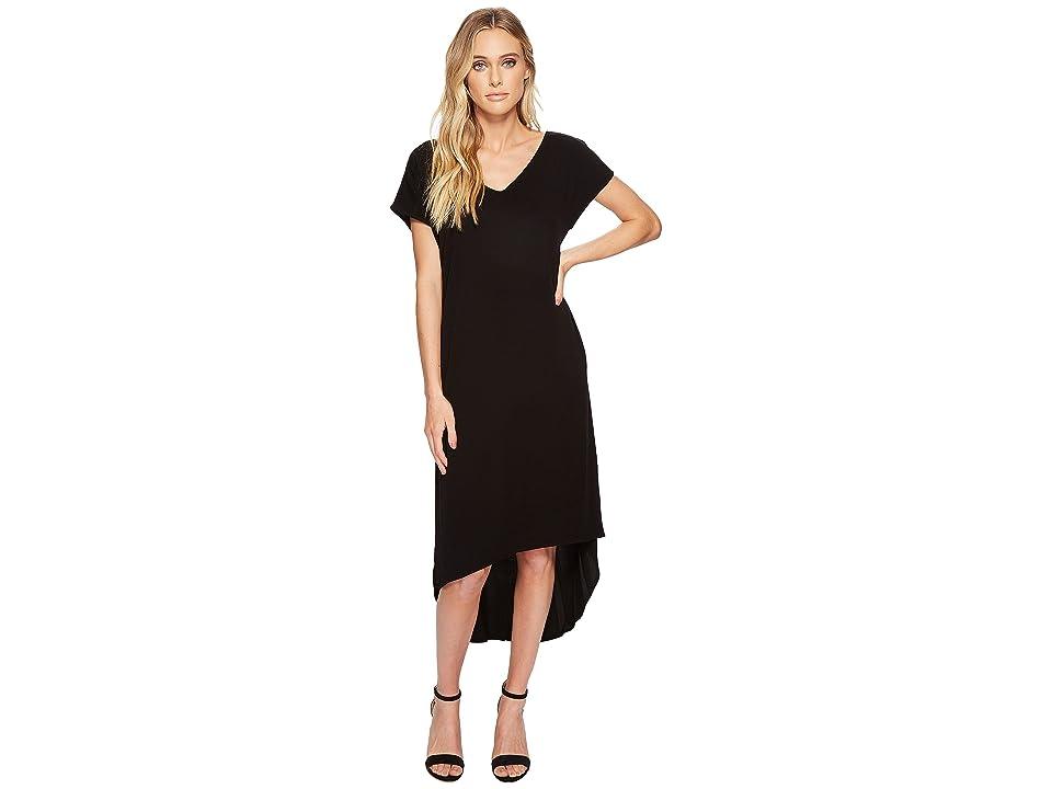Michael Stars Rylie Rayon Short Sleeve High-Low Dress (Black) Women