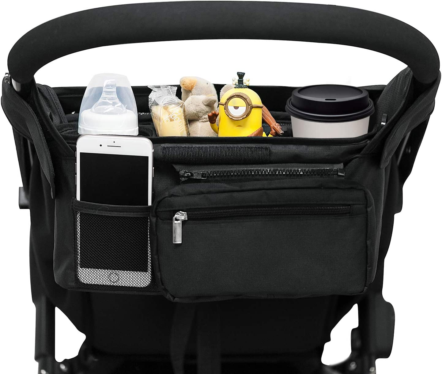 Universal Stroller Organizer with 2 Insulated Cup Holders, Lupantte Stroller Accessories, for Carrying Diaper, iPhone, Toys & Snacks, Fits Britax, Uppababy, Baby Jogger, Bugaboo and BOB Stroller.