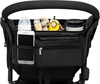 Universal Stroller Organizer with 2 Insulated Cup Holders, Lupantte Stroller Accessories, for Carrying Diaper, iPhone, Toy...