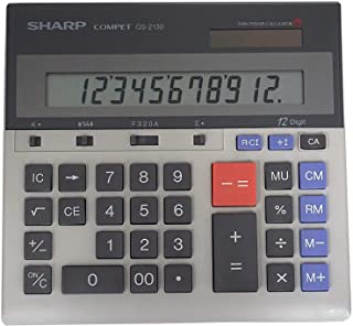 Sharp QS-2130 12-Digit Commercial Desktop Calculator with Kickstand, Arithmetic Logic, Battery and Solar Hybrid Powered LC...