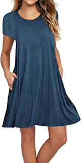 Sanifer Women's Short Sleeve Cotton T-Shirt Dress Swing Tunic Dress with Pockets