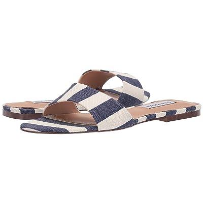 Steve Madden Bev Flat Sandal (Navy/White) Women