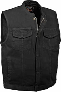 Milwaukee Leather Men's Concealed Snap Denim Club Style Vest w/Hidden Zipper (Black,)