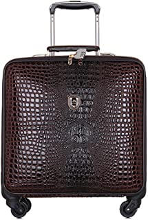 SRY-Luggage Crocodile Leather Suitcase, Stylish Plaid Suitcase, Suitcase 18 Inches Durable Carry on Luggage (Color : Brown)