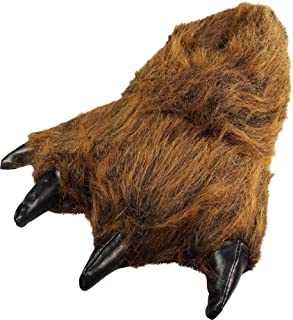 Image of Furry Grizzly Bear Paw Slippers for Boys