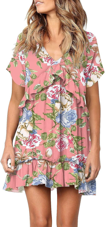 FOWSMON Womens Ruffle Dress Short Sleeve V Neck Swing Flowy Dress Loose Printed Summer Dress