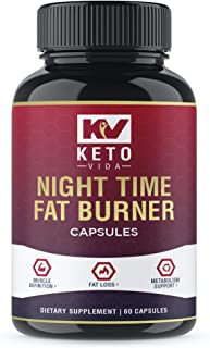 Keto Vida Weight Loss Fat Burner for Night Time to Suppress Appetite and Reduce Cravings; 30 Servings