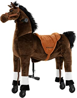 Uenjoy Riding Horse for Big Kids Ride on Horse Toy, Pony Rider Mechanical Walking Action Plush Animal for 6 Years to Adult, No Battery or Electricity, Giddy up, Max Load 187LBS, Large Size, Chocolate