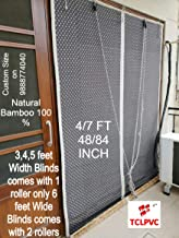 TCLPVC Economy 4/7ft Bamboo Chick 48x84inch Window Curtains (Beige)