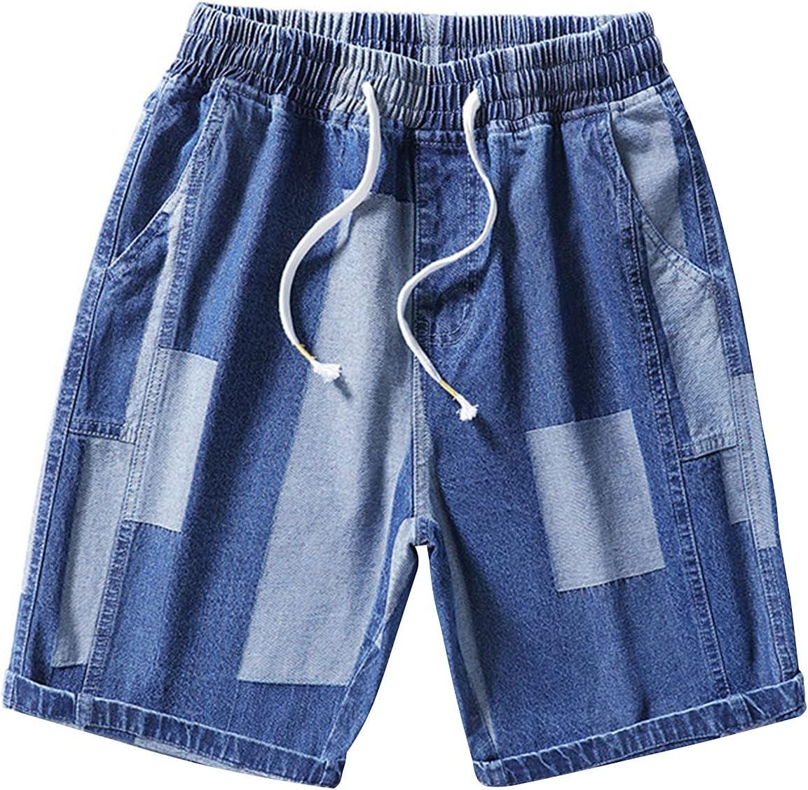 Men's Color Block Denim Shorts Patchwork Drawstring Elastic Waist Short Jeans Relaxed-Fit Knee Length Jean Shorts (Blue,Medium)