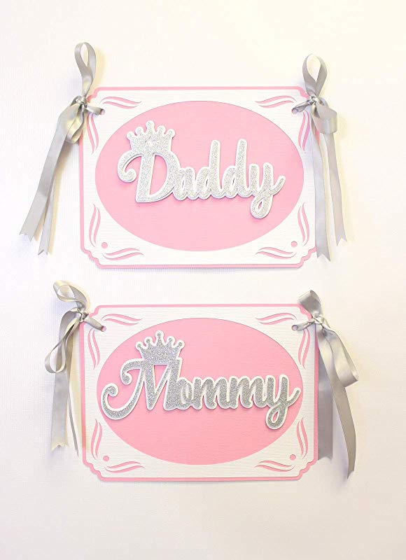 All About Details Princess Theme Daddy Mommy Chair Signs 1set Princess Theme Baby Shower Decor Princess Theme 1st Birthday Decor Light Pink Silver
