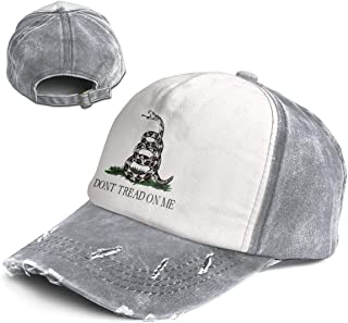 Don't Tread On Me Trend Printing Cowboy Hat Fashion Baseball Cap for Men and Women Black and White