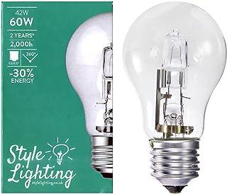 5 x Style Lighting Bombilla Lámpara Regulable Halogena GLS ES E27 42W = 60W Blanco Calido Claro