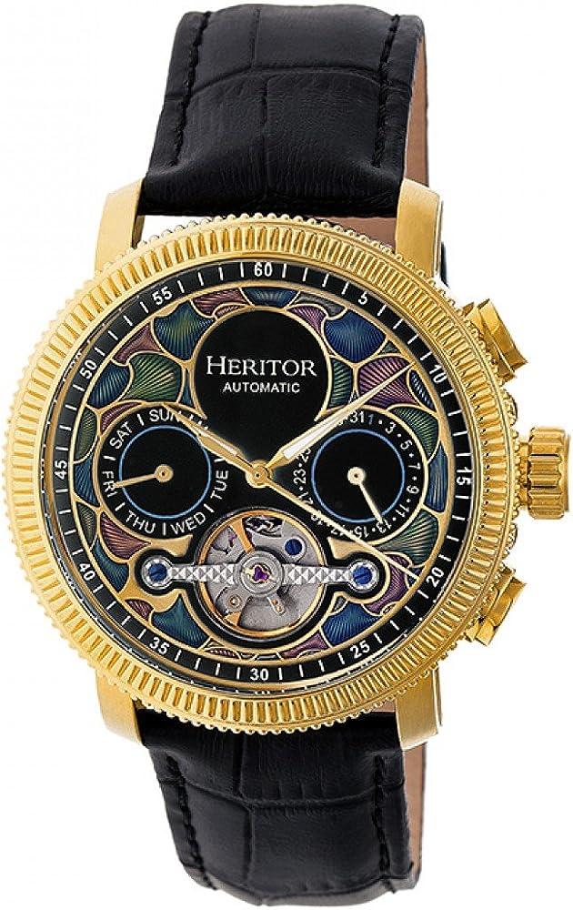 Heritor orologio automatico da uomo semi-scheletro automatic aura cassa in acciaio inox palccata oro HERHR3502