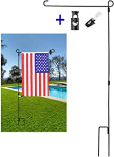 BonyTek Garden Flag Stand Flagpole, Black Wrought Iron Small Flag Stand for Yard Garden Flag Pole Flag Holder with Garden Flag Rubber Stopper and Anti-Wind Clip - 36.22