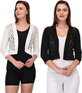 Espresso Women's 3/4 Th Sleeve Lace Shrug Cardigan - Pack of 2 (Black/Off White)