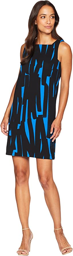 Mini Zigzag Square Neck Shift Dress