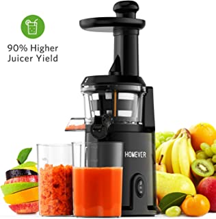 Slow Masticating Juicer, Homever Juicer Extractor Easy to Clean Juicer Machine with Quiet Motor, Cold Press Juicer for Vegetables and Fruits, Black