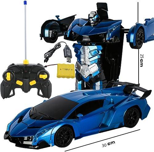 BZ Ein-Knopfürformungsfernsteuerungsautofernsteuerungsverformungsroboter K g Kong-Gesteninduktions-Verformungsspielzeugauto,Blauer Rambo,25  30