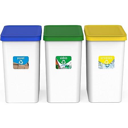 USE FAMILY Papeleras Recycle.Cubos de Basura de Reciclaje 3 compartimentos|28L|Plastico Reciclable|Apto bolsas 30 L