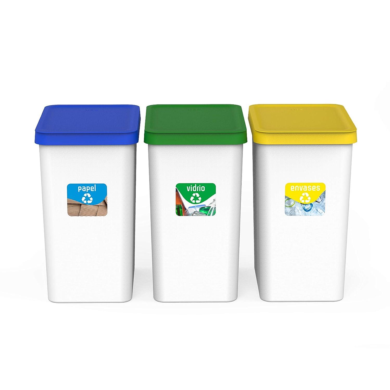 USE FAMILY Recycle. Papeleras Reciclaje 3 compartimentos 28L - 34 x 25 x 45 cm + 3 Pegatinas Reciclaje | Apto Bolsas 30 L | Cubos de Basura ecologico Plástico Reciclable ( Papel, Vidrio y Plastico)