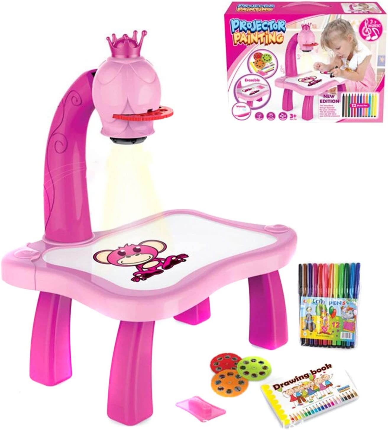 Syfinee Educational Toys for 3 Year Old Learning Toys Trace And Draw Projector Toy Kids Drawing Projector Table Child Learning Desk with Smart Projector with Light Music