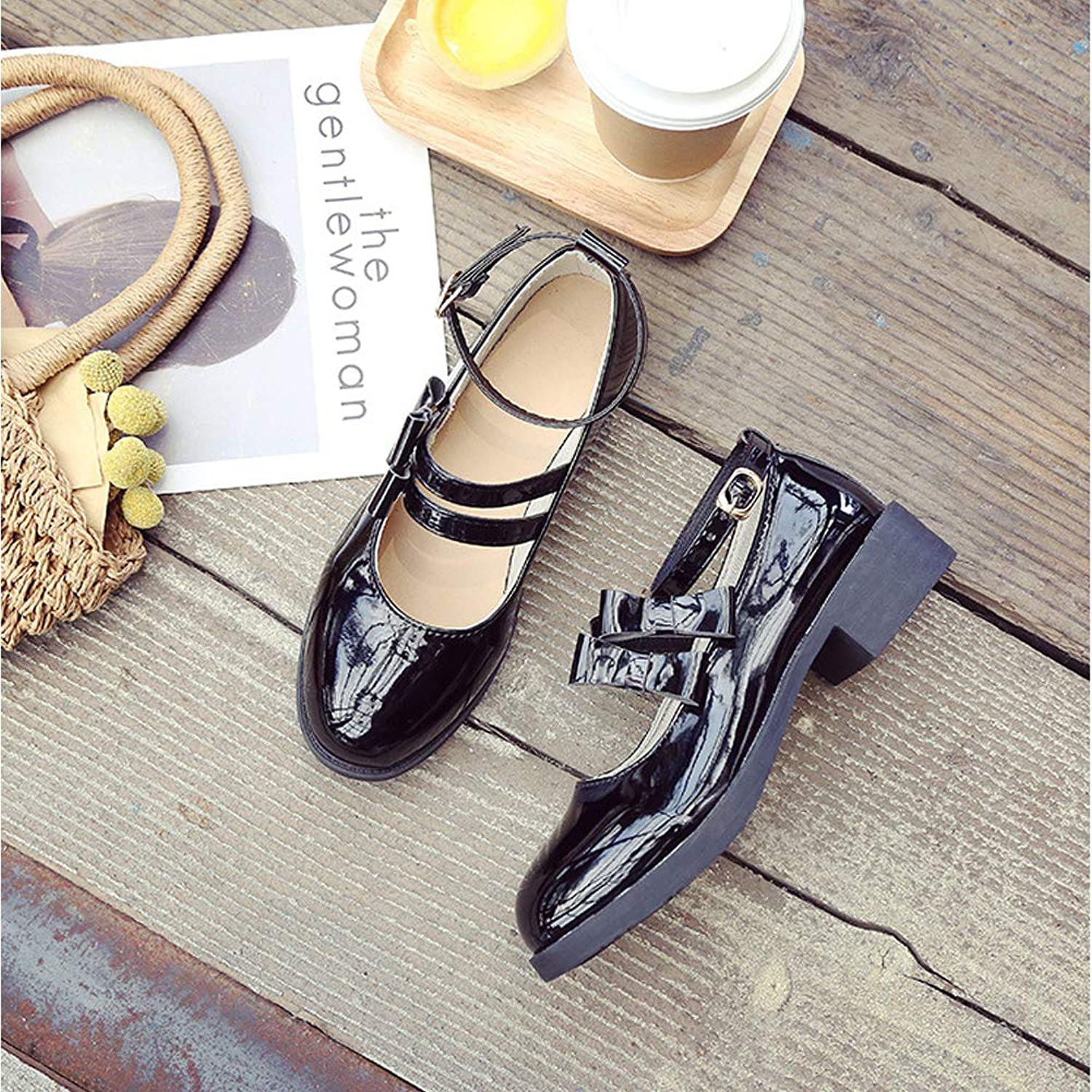 Uniform shoes Female Word Buckle with Round Head Small shoes Bow Soft Sister Single shoes Doll shoes,39