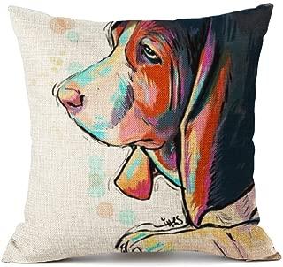 Redland Art Cute Pet Basset Hound Dog Pattern Cotton Linen Throw Pillow Covers Car Sofa Cushion Cases Home Decor 18
