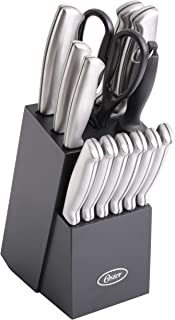 Oster Baldwyn High-Carbon Stainless Steel Cutlery Knife Block Set, 14-Piece, Brushed Satin