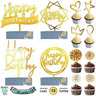 READYSETGO! Happy Birthday Cake Topper 12 Piece Acrylic Cupcake Topper Party Set, Gold Paper Fan, Heart, Star, Crown, Ball...