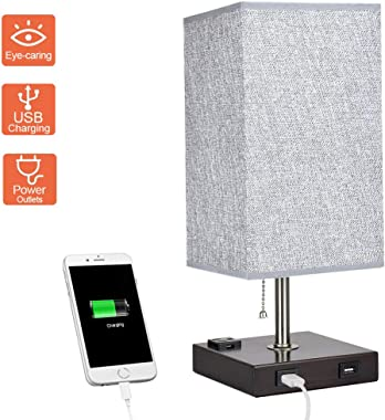 Dual USB Bedside Table Lamp, Depuley Minimalist Solid Wood Table Lamp, Grey Nightstand Desk Lamp with Square Fabric Shade for Bedroom, Living Room, Study, Office (E26 Bulb Included)