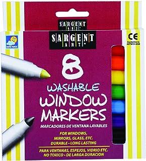 أقلام تلوين لنوافذ قابلة للغسل من سارجنت آرت، عدد 8 قطع، ألوان متنوعة