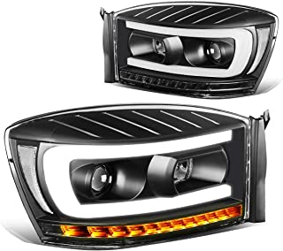Pair Black Housing Clear Side LED DRL+Sequential Turn Signal Headlight Lamps for 06-09 Dodge Ram Truck