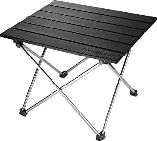 Trekology Portable Camping Side Tables Aluminum Table Top: Hard-Topped Folding Table in a Bag Picnic, Camp, Beach, Boat, U...